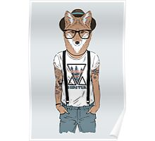 Fox hipster with tattoo Poster