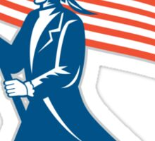 American Serviceman Soldier Waving Flag Retro Sticker