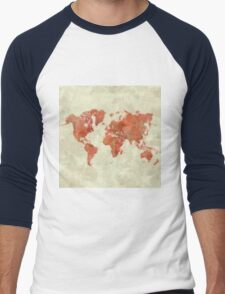 World Map Red Men's Baseball ¾ T-Shirt
