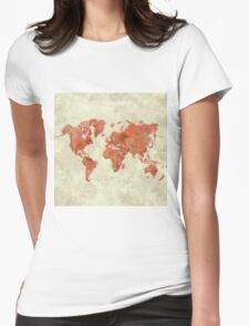 World Map Red Womens Fitted T-Shirt