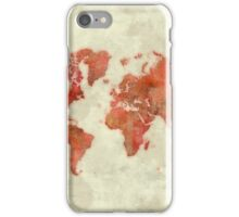 World Map Red iPhone Case/Skin