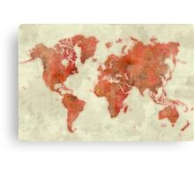 World Map Red Canvas Print