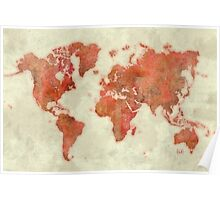 World Map Red Poster
