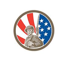 American Soldier Serviceman Bayonet Circle Retro by patrimonio