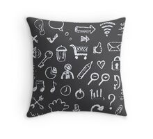Web icons painted on a black background Throw Pillow