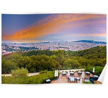 Barcelona Skyline, the view from Hotel La Florida, Tibidabo, SPAIN Poster