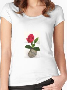 Mom's red rose♡ Women's Fitted Scoop T-Shirt