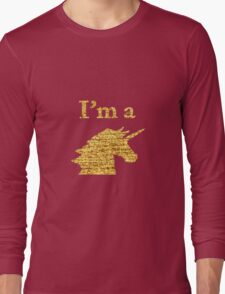 I'm a Unicorn Head in Photo in Gold Long Sleeve T-Shirt