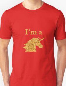 I'm a Unicorn Head in Photo in Gold Unisex T-Shirt