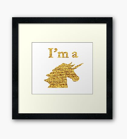 I'm a Unicorn Head in Photo in Gold Framed Print