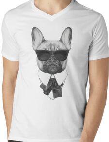 French Bulldog In Black Mens V-Neck T-Shirt