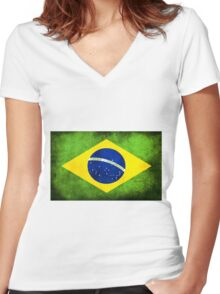 BRAZIL Women's Fitted V-Neck T-Shirt