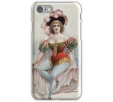 Performing Arts Posters Woman wearing brief costume blue tights pink cape with feathers in her hair 0328 iPhone Case/Skin