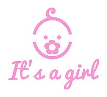 it's a girl text with cute face icon for baby shower by beakraus