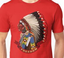 Native American Indian profile in war bonnet. Unisex T-Shirt