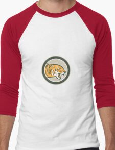 Angry Tiger Head Growling Side Circle Retro Men's Baseball ¾ T-Shirt