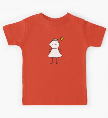 Happy and strong little woman with lucky star Kids Tee