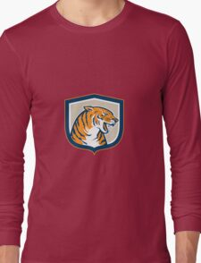 Angry Tiger Head Sitting Growling Shield Retro Long Sleeve T-Shirt