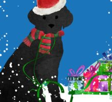 Cute Black Lab Christmas Snow Globe  Sticker
