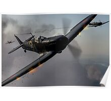 """Guns Blazing"" - Fantastic Digitial Painting of Spitfires in Battle / Spitfire WW2 Poster"