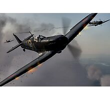 """""""Guns Blazing"""" - Fantastic Digitial Painting of Spitfires in Battle / Spitfire WW2 Photographic Print"""