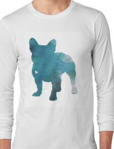 French Bulldog Watercolor Painting Silhouette Blue Kids  Long Sleeve T-Shirt