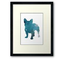 French Bulldog Watercolor Painting Silhouette Blue Kids  Framed Print