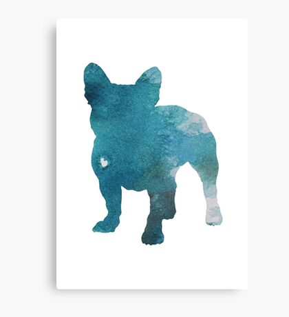 French Bulldog Watercolor Painting Silhouette Blue Kids  Canvas Print