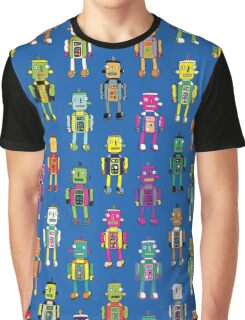 GoggleBots - robot pattern on Blue Graphic T-Shirt