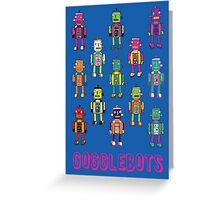 GoggleBots - robot pattern on Blue Greeting Card