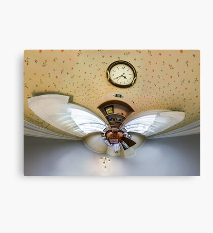 House interior in little planet view style, space distortion Canvas Print