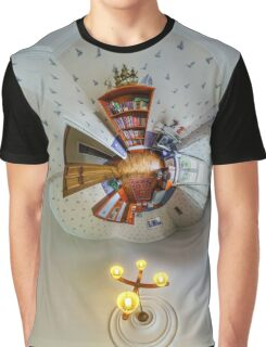 House interior in little planet view style, space distortion Graphic T-Shirt