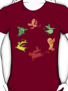 We Are The Birdies!! Cartoon Birds by Cheerful Madness!! T-Shirt