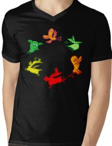 We Are The Birdies!! Cartoon Birds by Cheerful Madness!! Mens V-Neck T-Shirt