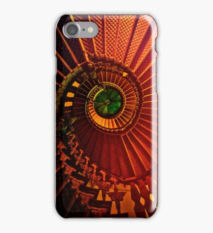 Spiral stairs in brown and green iPhone Case/Skin