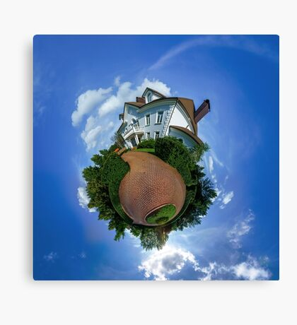 Little planet view of the beautiful house, distortion of space Canvas Print