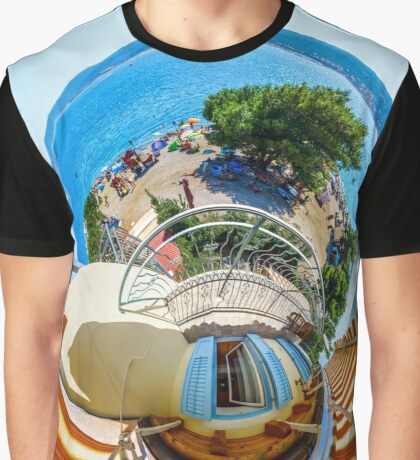 Little planet view from the balcony over the beach, seaside Graphic T-Shirt