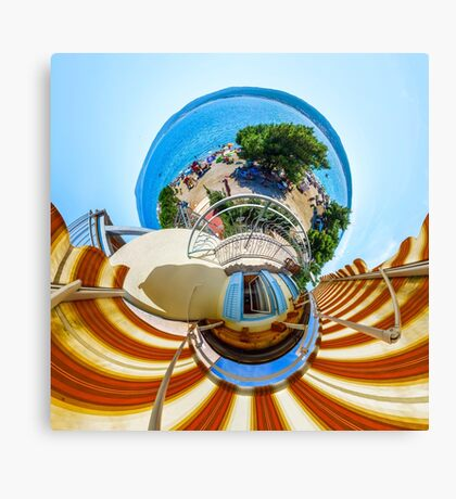 Little planet view from the balcony over the beach, seaside Canvas Print