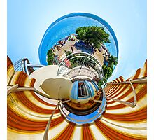 Little planet view from the balcony over the beach, seaside Photographic Print