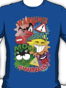 Warning Frequent Mood Swings Cartoon Faces T-Shirt