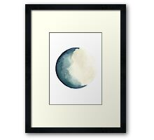 Luna Watercolour Painting Abstract Turquoise Solar System Illustration Framed Print