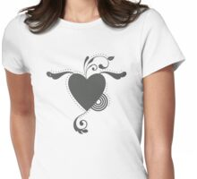Cute Lovely Valentine Heart Vintage Grunge T-shirt Womens Fitted T-Shirt