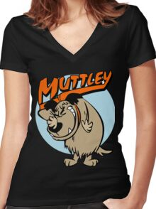 Muttley Laughing Women's Fitted V-Neck T-Shirt