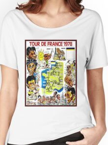 TOUR DE FRANCE; Vintage Bicycle Race Advertising Print Women's Relaxed Fit T-Shirt