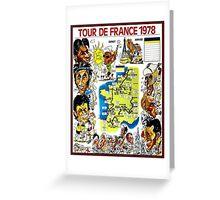 TOUR DE FRANCE; Vintage Bicycle Race Advertising Print Greeting Card