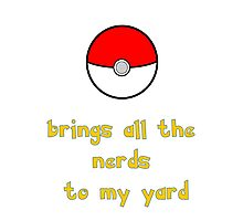 Pokemon Brings all the Nerds to my Yard Photographic Print