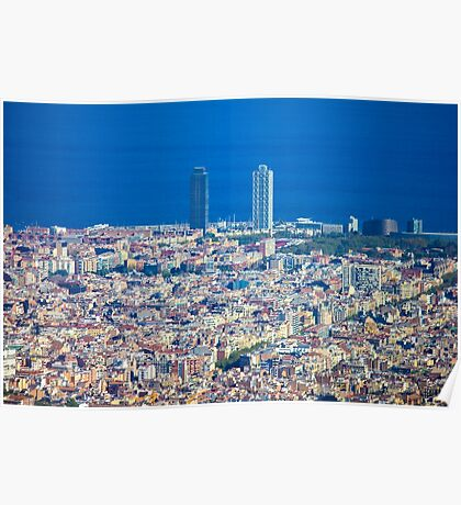 Barcelona City, Drone View Poster