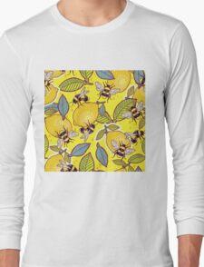 Yellow lemon and bee garden. Long Sleeve T-Shirt