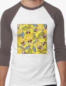 Yellow lemon and bee garden. Men's Baseball ¾ T-Shirt