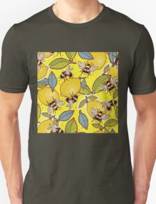Yellow lemon and bee garden. Unisex T-Shirt